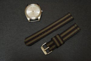 Black Burgundy Green 18mm 2 Piece Military Watch Strap