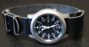 Black 20mm Leather Nato Watch Strap
