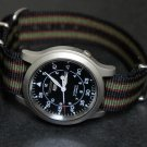 Black Green and Burgundy Stripe 24mm James Bond Nato Nylon Watch Strap