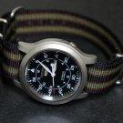 Black Green and Burgundy Stripe 24mm James Bond Nato Nylon Watch Strap