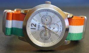 Green White and Orange Stripe 20mm Nato Nylon Watch Strap