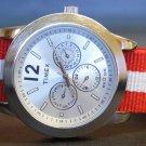 Red and White Stripe 20mm Nato Nylon Watch Strap