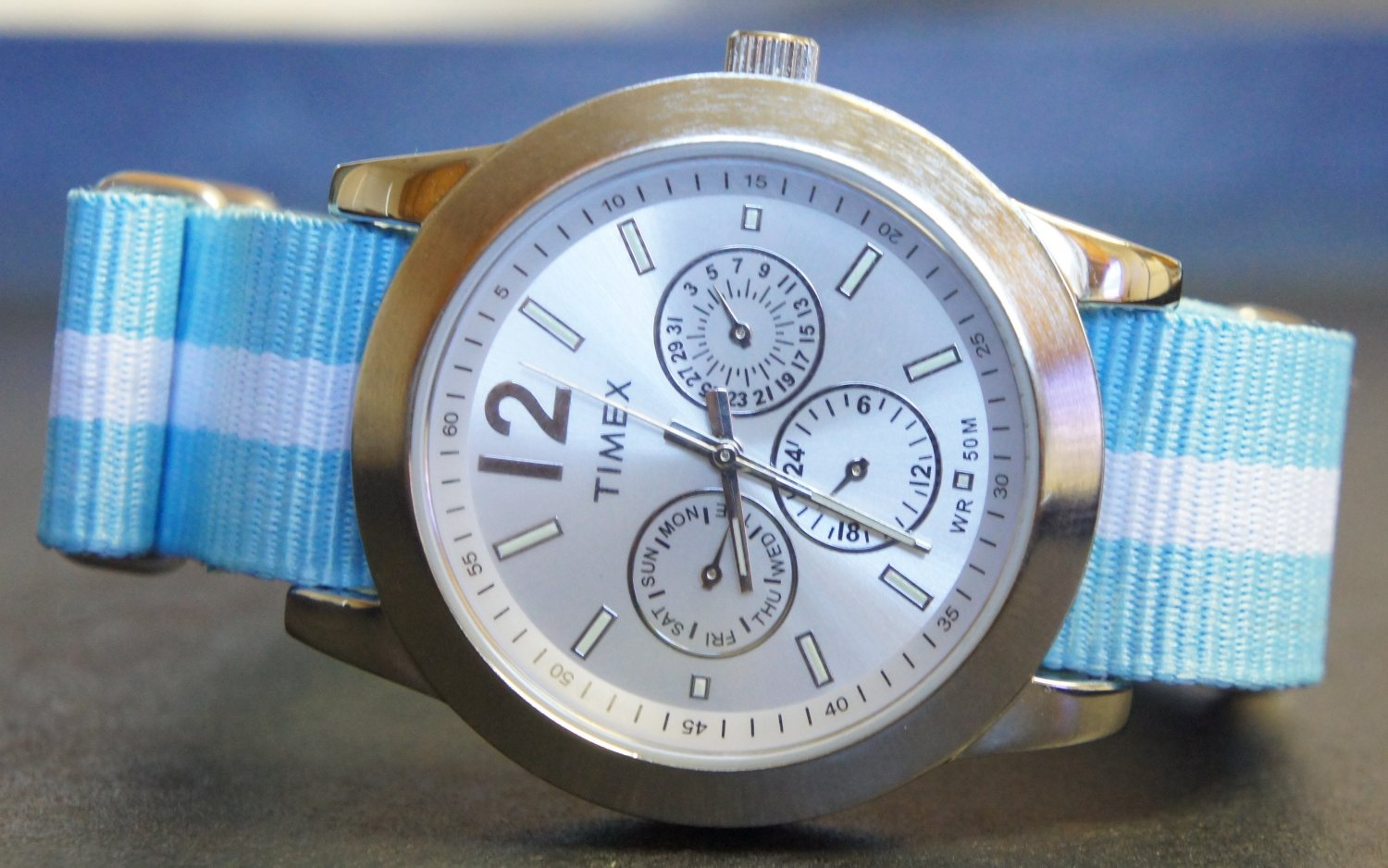 Light Blue and White Stripe 20mm Nato Nylon Watch Strap