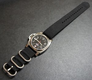 Black 24mm 3 Ring Zulu Nylon Watch Strap Band