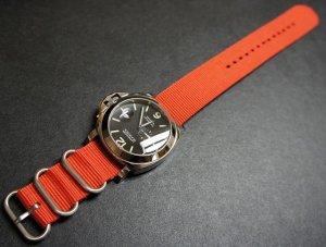 Red 24mm 3 Ring Zulu Nylon Watch Strap Band