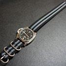 Black Gray 20mm 3 Ring Zulu Nylon Watch Strap Band