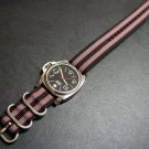 Black Red Gray 24mm 3 Ring Zulu Nylon Watch Strap Band