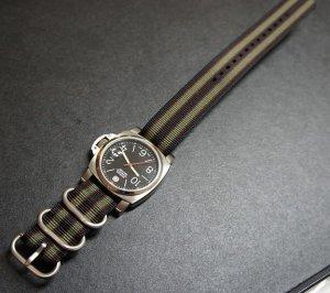 Black Red Green 24mm 3 Ring Zulu Nylon Watch Strap Band