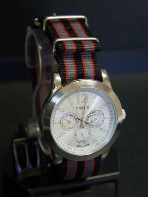 Black Gray and Red Stripe 20mm James Bond Nato Nylon Watch Strap