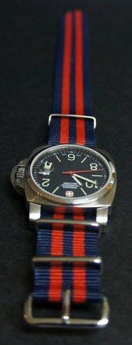 Blue and Red Stripe 22mm James Bond Nato Nylon Watch Strap