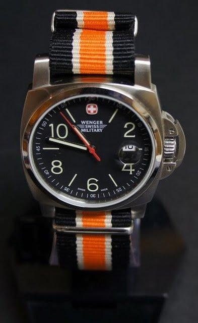 Black White and Orange Stripe 22mm James Bond Nato Nylon Watch Strap