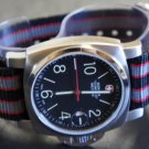 Black Red Gray 24mm 5 Ring Zulu Nylon Watch Strap Band
