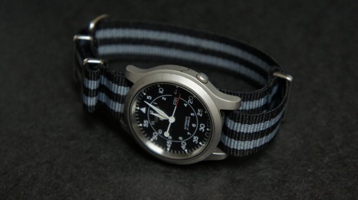 Black and Gray Stripe 16mm James Bond  Nato Nylon Watch Strap
