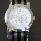 Black Red and Green Stripe 18mm James Bond Nato Nylon Watch Strap