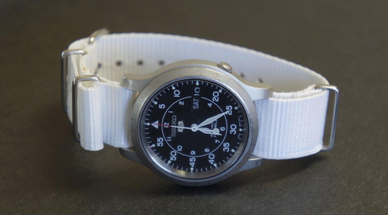 White 18mm Nato Nylon Watch Strap