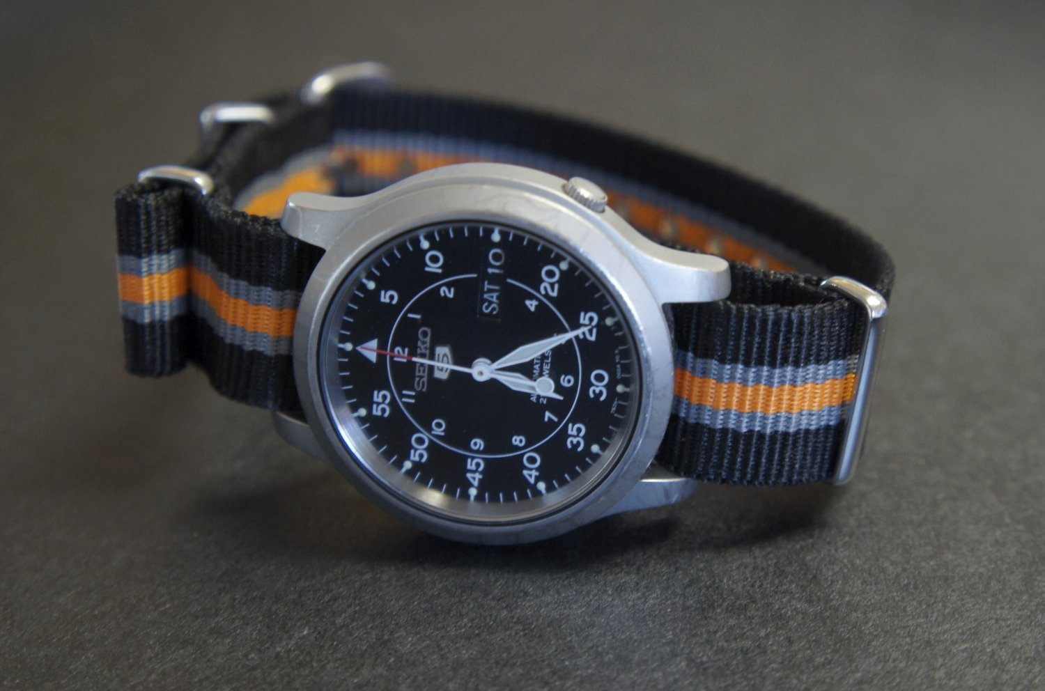 Black Gray and Orange 22mm Nato Nylon Watch Strap