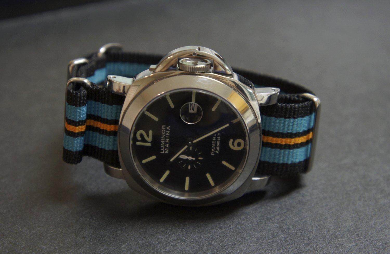 Black Blue Orange 24mm Nato Nylon Watch Strap Band