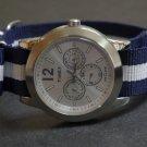 Blue and White Stripe 18mm James Bond  Nato Nylon Watch Strap