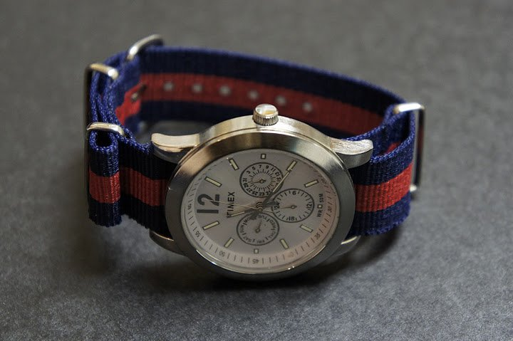 Blue and Red Stripe 16mm James Bond  Nato Nylon Watch Strap