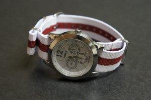 White Red Stripe 20mm James Bond  Nato Nylon Watch Strap