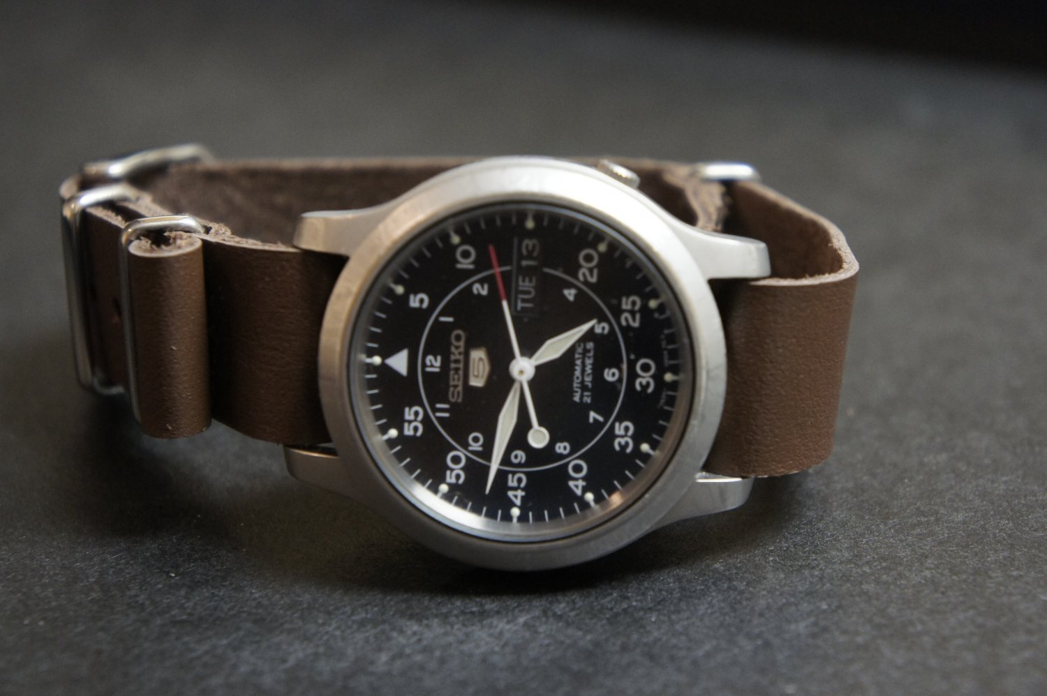Brown 18mm Leather Nato Watch Strap