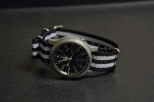 Black White 20mm Nato Nylon Watch Strap