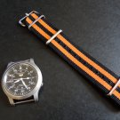 Black and Orange Double Stripe 20mm James Bond Nato Nylon Watch Strap