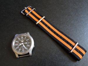Black and Orange Double Stripe 20mm James Bond Nato Nylon Watch Strap