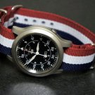 Red White & Blue Stripe 16mm Nato Nylon Watch Strap
