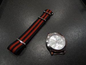 Black Copper Stripe 20mm James Bond Nato Nylon Watch Strap