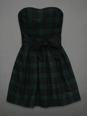 Abercrombie & Fitch ANF Codie Dress Plaid Bow New with Tag Size 0