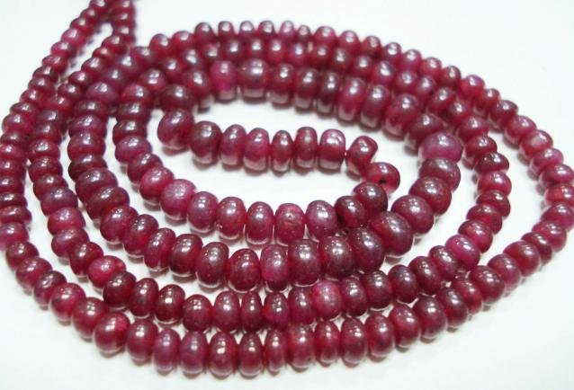 Single Strand Natural Ruby Beades Gemstone Strand 16""