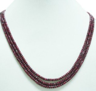 3strand Natural Red Ruby Gemstone Beads Necklace