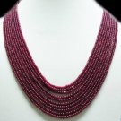 11Strand Stunning Natural Cabochon Ruby Beads Necklace