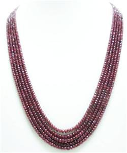 5strand Natural Red Ruby Gemstone Beads Necklace