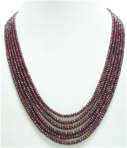 6strand Natural Red Ruby Gemstone Beads Necklace