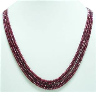 4strand Natural Red Ruby Gemstone Beads Necklace