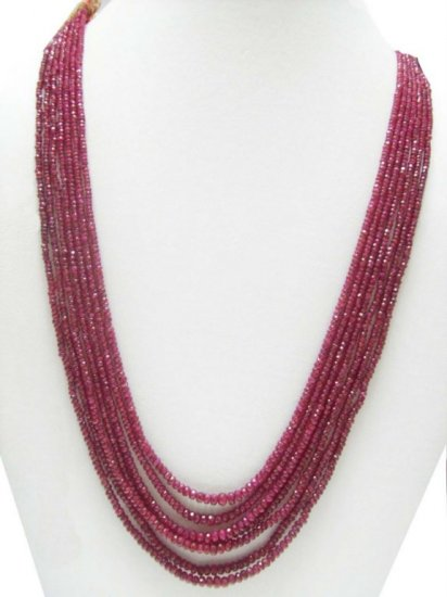 7 Strand Stunning Natural Cutting Ruby Beaded Necklace