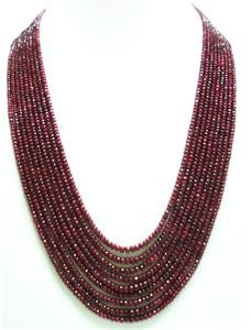9strand Natural Red Ruby Gemstone Beads Necklace