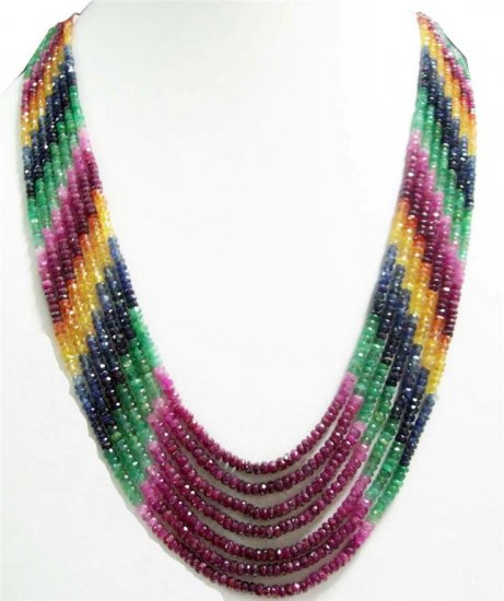 Colombian Emerald Ruby Sapphire String Beaded Necklace