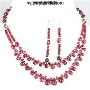 Stunning Natural Ruby Gemstone Beads & Silver Necklace