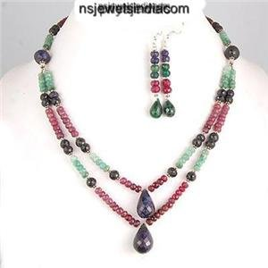 Stunning Multicolor Natural gemstone & Silver Necklace
