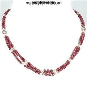 Designer Natural Ruby Gemstone Beads & Silver Necklace