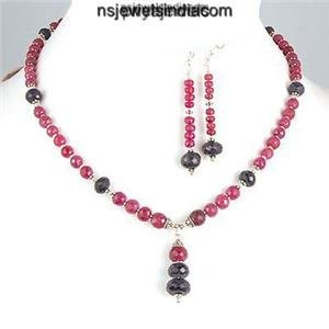 Designer Ruby & Sapphire Gemstone Beads Necklace