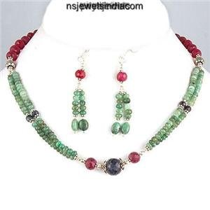 Handcrafted gemstone beads emerald & sapphire necklace