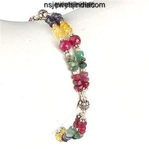 Designer Natural Ruby Gemstone Beads & Silver Bracelet