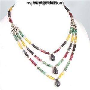 Designer Multicolor natural gemstone & Silver Necklace