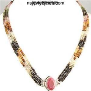 Stunning Natural multi Gemstone Beads & Silver Necklace