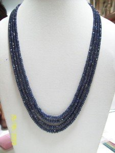 NECKLACE BLUE SAPPHIRE DARK FACETTED STUNNING RARE !