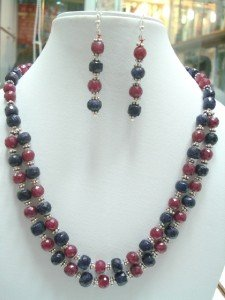STUNNING NATURAL GEMSTONE RUBY SAPHIRE NECKLACE SILVER